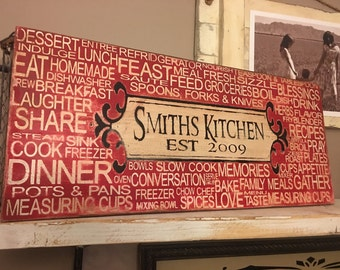 Family Kitchen Personalized Kitchen Words
