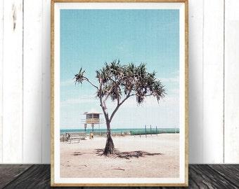 Beach Art, Beach Decor, Modern Coastal Decor, Beach Photo, Palm Tree, Beach Hut, Coastal Wall ...