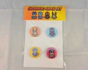 Comic Book Superhero Badge Set Wolverine, Deadpool, Batman, Captain America
