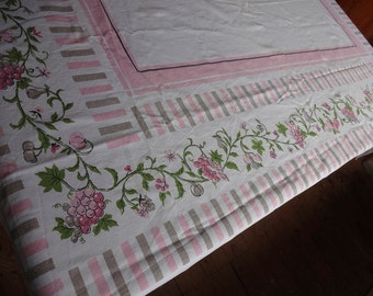VINTAGE Tablecloth *** PINK Cherries Grapes ** 1950's Retro
