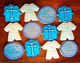 One Dozen - Boy Baptism Cookie - Christening - Religious Party Favor