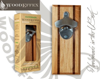 Bottle Opener Magnetic Cap Catcher Handcrafted By Woodeffex