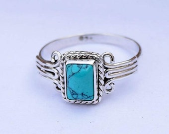 Silver Turquoise Ring 925 Solid Sterling Silver Turquoise Stone Gemstone Ring, Girl Women Genuine Silver Ring