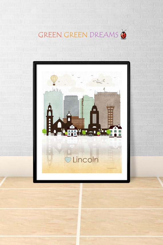 Lincoln print poster wall art lincoln nebraska by Home decor lincoln ne