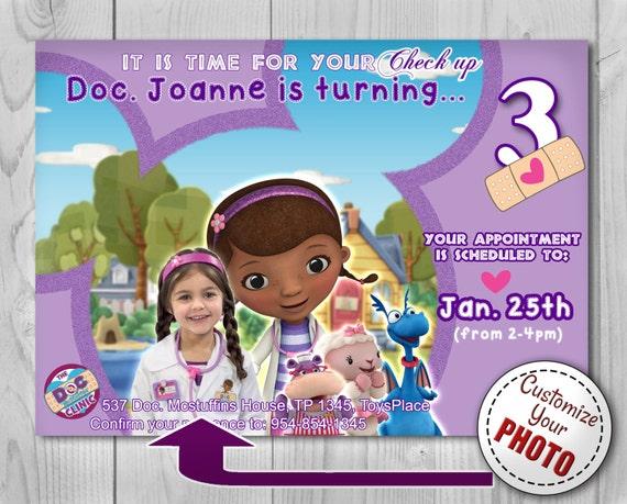 Doc Mcstuffin Invitation, Doc Mcstuffins Disney Junior Invite, Birthday Invitation, Customizable Photo photoshop, Printadorable Invitations