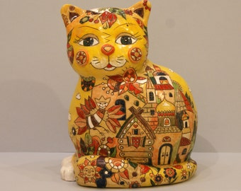 Big russian styled cat sculpture
