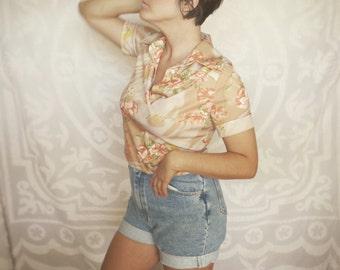 Vintage 1970s Tropical floral Polo Shirt