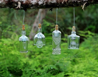 Bottles glass ceiling lamp style industrial vintage, recycled transparent white glass pendant luminaire, lighting liquors