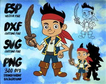 Jake neverland pirates Jake Clipart , SVG Cutting , ESP Vectors files , T shirt , iron on , sticker ,Personal Use