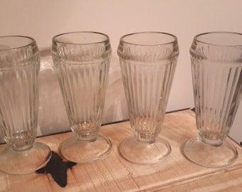 Set Of Vintage  Soda Fountain Malt Glasses