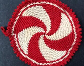 Vintage Red and White Pinwheel Hot Pad