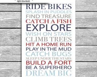 24x36 Inch Little Boy Rules Poster - Digital Download - Ride Bikes Climb Trees Dream Big Explore Be A Superhero Hit A Home Run - Navy Blue