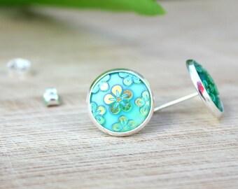 Gold Flower Earrings – Sparkles – 14 mm – Gift – Green