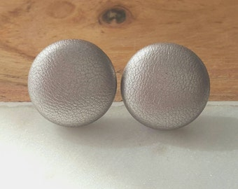 silver faux leather button earrings