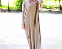 Modal Jersey Soft Fabric Long Batwing Sleeve Flowing Maxi Dress