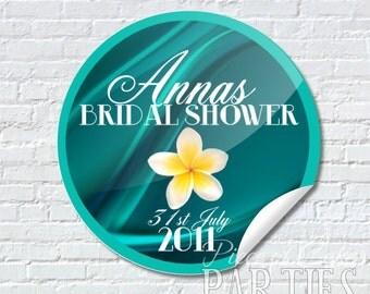 AQUA FRANGIPANI BRIDAL Shower Custom Sticker Seals Sheet of 12/24/48