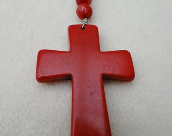 Red Turquoise Stone Crucifix with Swarovski Crystals Assemblage Necklace - NRU106
