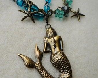 Under the Sea – Brass Mermaid Multi Strand Assemblage Necklace - NRU125
