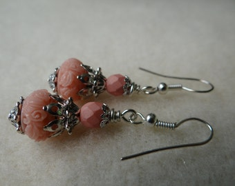 Mini Earthy Style Synthetic Coral Peachy Pink Glass Earrings - ERU157