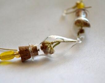 Real Yellow Orange Dried Flower Glass Tear Drop Vial Earrings