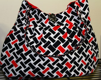 Red Black Rectangle Purse