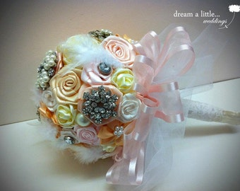 Handmade Ribbon flower Bouquet with Groom's Boutonniere