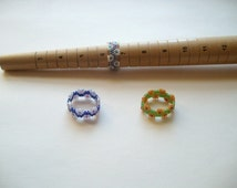 Lot of 3 rings, beaded rings, bead woven rings, flower ring band, size 6 to 7 rings, beadwork rings, beadweaving, blue ring, green ring