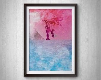 WATER REX. Dinosaur Designer Print - 8x10, 24x30