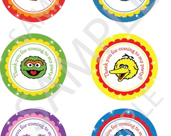 """Sesame Street thank you stickers - 3"""" round stickers - sesame street thank you labels - 3 inch round treat bag labels"""