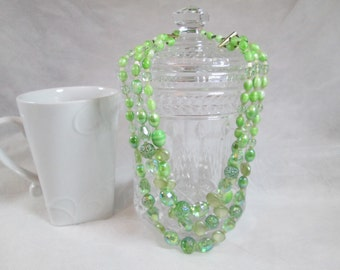 West Germany Green Glass Vintage Necklace 1950s or 1960s