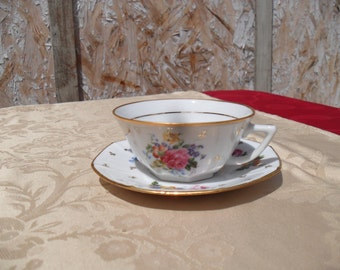 Tea Cup And Saucer Set, Made In France Tea Set, Hand Painted Tea Set