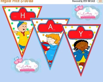 ON SALE 15% OFF Caillou banner, Caillou Birthday Banner, Caillou Birthday Decoration, Caillou birthday banner digital file