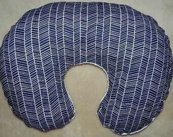 Modern Meadow Herringbone  Navy  Boppy Pillow Cover with White Minky on Back, Slip Cover, Nursing Pillow Cover, Zipper for Easy and off