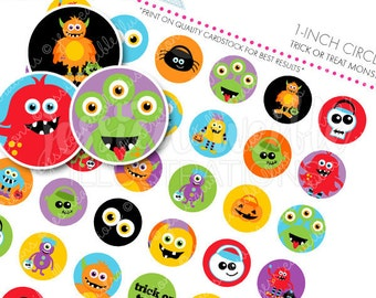 Trick or Treat Monsters Printable 1 Inch Circles, Bottle Cap Circles, Printable Circles, Printable Candy Circles, Halloween Party, Confetti