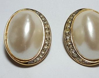 Richelieu Vintage Pearl and Gold Clip On Earrings Faux/ Pearl Rhinestone Earrings /1960's /Wedding Jewelry/Vintage Jewelry