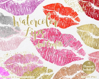 WATERCOLOR LIPS CLIPART Commercial Use Clipart 24 Watercolor Kissing Lips Graphics Pink Red and Gold Confetti Lipstick Smear Smudge Clip Art
