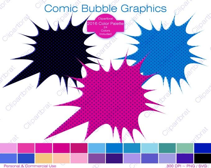 COMIC BUBBLE Clipart Commercial Use Clipart Superhero Speech Bubble Graphic 24 Colors Text Bubble Clip Art Digital Sticker Vector Png Svg