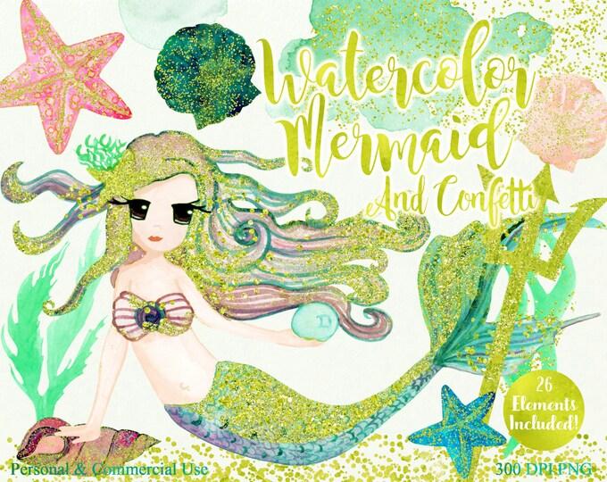 BLUSH WATERCOLOR MERMAID Clipart Commercial Use Clipart 26 Elements Gold Confetti Mint Watercolor Mermaid Clipart Watercolor Splash Clip Art