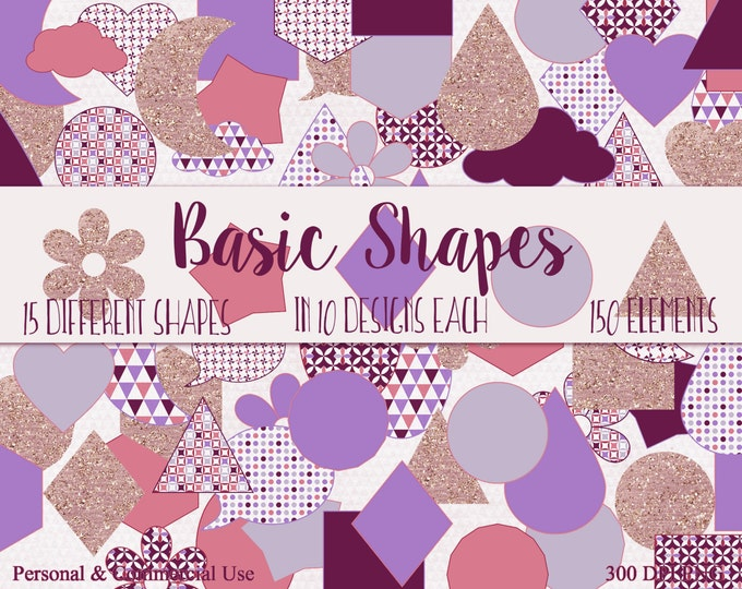 BASIC SHAPES Clip Art Commercial Use Clipart Purple Pink & Rose Gold Circles Flowers Triangles Stars Planner Sticker Clipart Shape Graphics