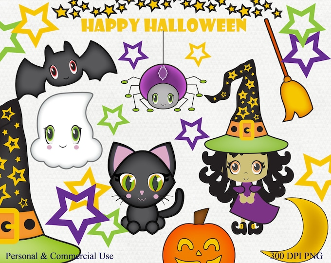 CUTE HALLOWEEN CLIPART Commercial Use Clip Art Bat Witch Hat Black Cat Happy Halloween Word Art Spider Ghost Stars Moon Graphic Spooky Fun