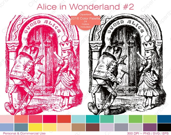 ALICE IN WONDERLAND Clipart Commercial Use Clipart Queen Alice Graphic 2016 24 Color Palette John Tenniel Digital Sticker Vector Png Eps Svg