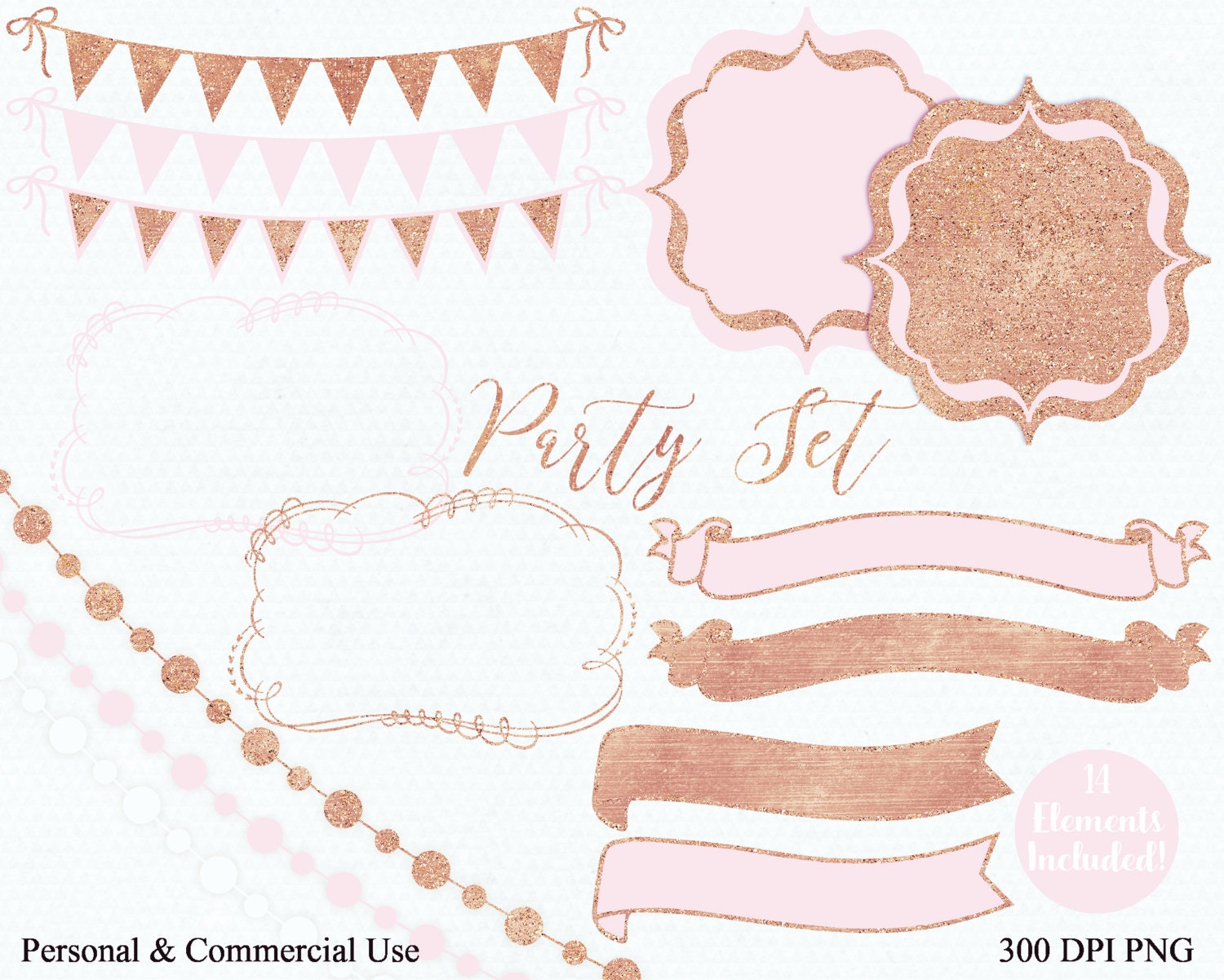 PARTY CLIPART Commercial Use Clip Art Bush Pink & Rose Gold Banner ...