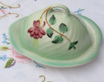 Vintage Cheese Dish by Shorter and Son in Green with Fuchsia Design, 1940's Cheese Dish.
