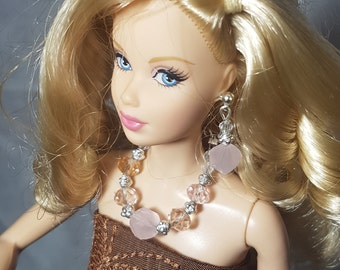 Light pink crystal jewelry for Barbie and other fashion dolls