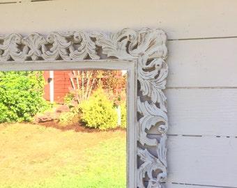 Ornate White Mirror, Wood Carved Mirror, Shabby Chic Home, Nursery Decor, Bedroom Wall Mirror, Bathroom Mirror, Leaning Mirror, Custom Color