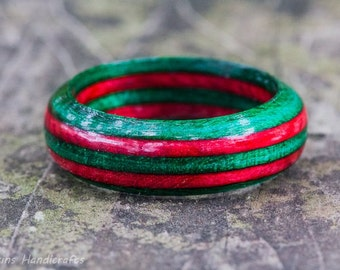 Red Green Wood Ring - SpectraPly Wooden Ring Christmas Ring Christmas Jewelry Christmas in July Mens Wood Ring Womens Wooden Ring Xmas Ring