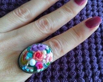 Handmade Embroidered Ring