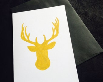 Gold Stag Head Card - pack of 2