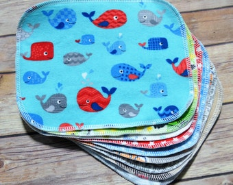 Set of 10 Cloth Wipes (Boys) - Cloth Diaper Wipes - Cloth Baby Wipes - Baby Washcloth - Reusable Wipes - Family Cloth