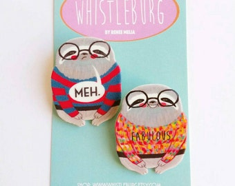 Mini Sloth pin set of two // shrink plastic // Fabulous Meh Sloth in a Sweater // quirky // colourful // statement